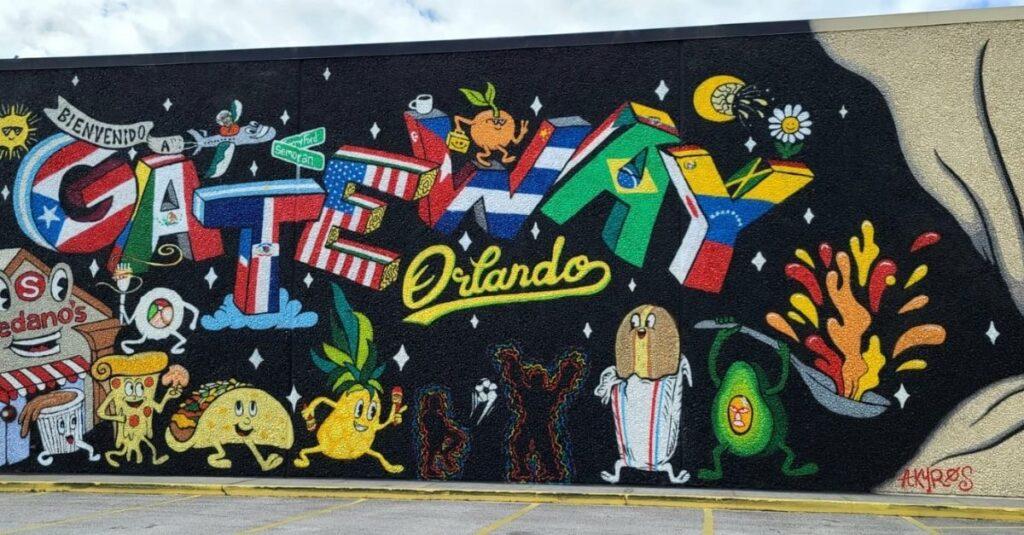 Mural con banderas latinas enorgullece a residentes de Orlando